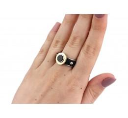 Кольцо серебряное с золотом и каучуком (836)
