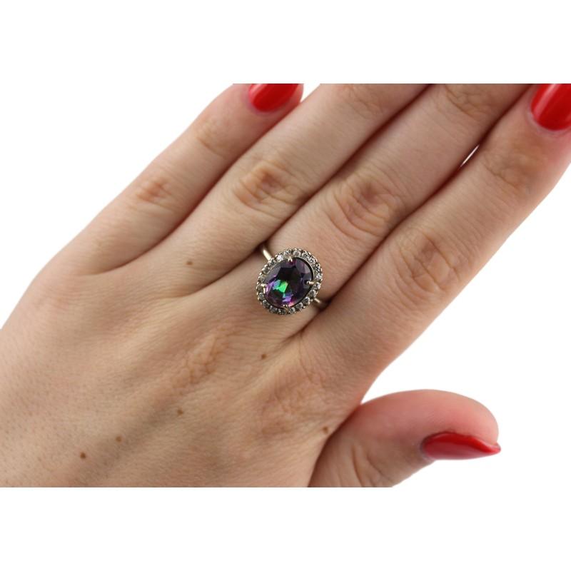 Кольцо серебряное с цирконием Ода (748км)