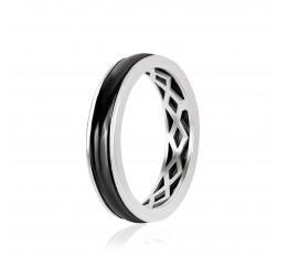 Кольцо серебряное с керамикой и фианитами (К2К/1016)
