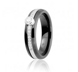 Кольцо серебряное с керамикой и фианитами (К2ФК/1003)
