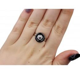 Кольцо серебряное с керамикой и цирконием (1.1211.2225.32ч)