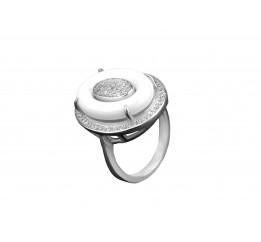 Кольцо серебряное с керамикой и цирконием (1.1211.332б)