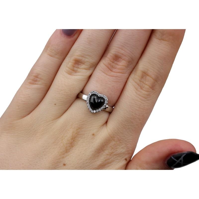Кольцо серебряное с керамикой и цирконием (1.1211.332с)