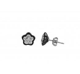 Серьги серебряные с керамикой и цирконием (2.1211.332ч)