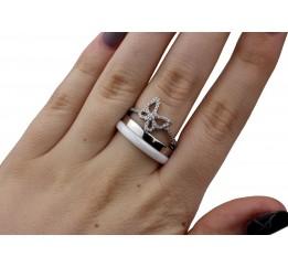 Кольцо серебряное с керамикой и цирконием (1.1211.1601.52)