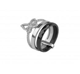 Кольцо серебряное с керамикой и цирконием (1.1211.052)
