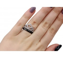Кольцо серебряное с керамикой и цирконием (1.1211.1603.52б)