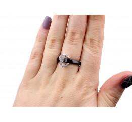 Кольцо серебряное с керамикой и фианитами Брайтон (кч027)