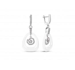 Серьги серебряные с керамикой и фианитами (сб010т)