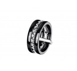 Кольцо серебряное с керамикой и фианитами Лион (кч032а)