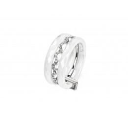 Кольцо серебряное с керамикой и фианитами Милан (кб003а)