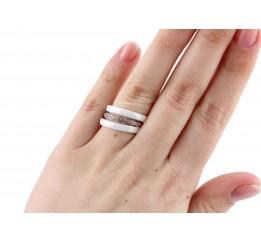 Кольцо серебряное с керамикой и фианитами Виченца (кб007)