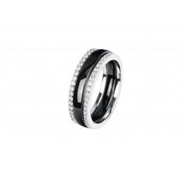 Кольцо серебряное с керамикой и фианитами Дижон (кч012)