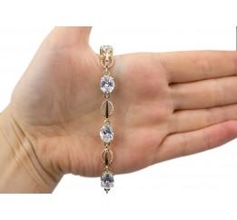 Браслет серебряный с золотом и цирконием (0252.10б)