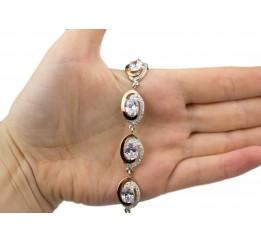 Браслет серебряный с золотом и цирконием (0349.07)