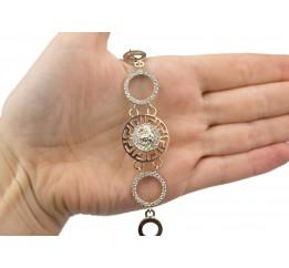 Браслет серебряный с золотом и цирконием Версаче (0288.09)