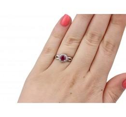 Кольцо серебряное с натуральным рубином  и цирконием Луша (1078/1р рубин)