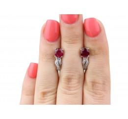 Серьги серебряные с натуральным рубином Волнистые (2424/9р рубин)