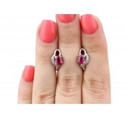 Серьги серебряные с натуральным рубином Азон (2348/9р рубин)