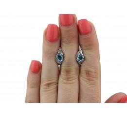 Серьги серебряные с кварцем London blue Рената (2882/9р QLB)