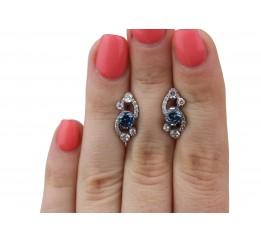 Серьги серебряные с кварцем London blue Оперетта (2374/9р QLB)