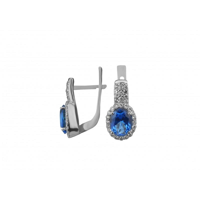 Серьги серебряные с кварцем London blue Орабель (2920/9р QLB)