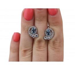 Серьги серебряные с кварцем London blue Доротея (2931/9р QLB)