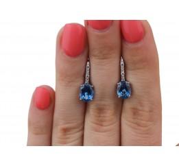 Серьги серебряные с кварцем London blue Красочность (2923/9р QLB)
