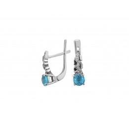 Серьги серебряные с голубым кварцем Оттепель (2444/9р QSWB)