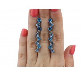 Серьги серебряные с голубым кварцем Яркость (2928/9р)