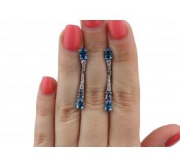 Серьги серебряные с голубым кварцем Фонтана (2913/9р)