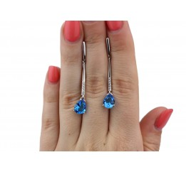 Серьги серебряные с голубым кварцем Источник (2892/9р QSWB)