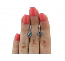 Серьги серебряные с голубым кварцем Лея (2345/9р QSWB)