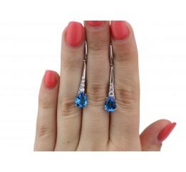 Серьги серебряные с голубым кварцем Элизабет (2908/9р QSWB)