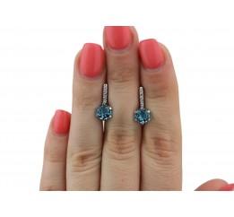 Серьги серебряные с голубым кварцем Лола (2352/9р QSWB)
