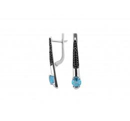 Серьги серебряные с голубым кварцем Арт- Деко (2966/9р QSWB)