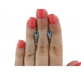 Серьги серебряные с голубым кварцем Нюша (2415/9р QSWB)