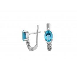 Серьги серебряные с голубым кварцем Сердечки с камнями (2416/9р QSWB)