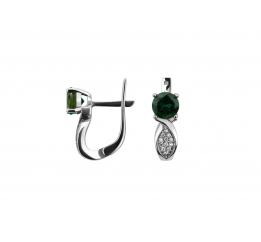 Серьги серебряные с зелёным кварцем Промис (2421/9р з кварц)
