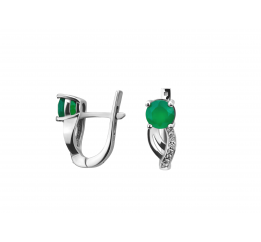 Серьги серебряные с зелёным агатом и цирконием Алекса (2446/9р з агат)