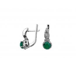 Серьги серебряные с зелёным агатом и цирконием Лейси (2412/9р з агат)