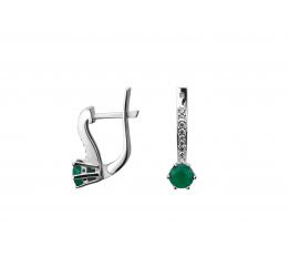 Серьги серебряные с зелёным агатом и цирконием Лея (2345/9р з агат)