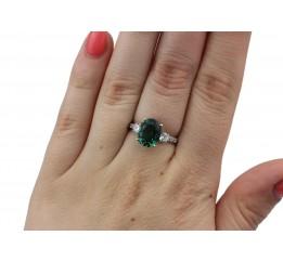 Кольцо серебряное с зелёным кварцем Тихий океан (1322/1р з кварц )