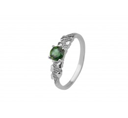 Кольцо серебряное с зелёным кварцем Оттепель (1924/9р з кварц )