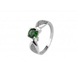 Кольцо серебряное с зелёным кварцем Промис (1915/9р з кварц )