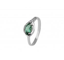 Кольцо серебряное с зелёным кварцем Дорис (1968/9р з кварц )
