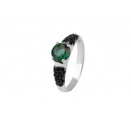 Кольцо серебряное с зелёным кварцем Арт- Деко (1384/1р з кварц )