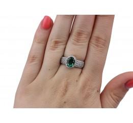 Кольцо серебряное с зелёным кварцем Орабель (1336/1р з кварц )