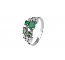 Кольцо серебряное с зелёным кварцем и агатом Блеск океана (1343/1р з кварц )