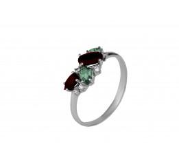 Кольцо серебряное с зелёным кварцем и гранатом Шалфей (1311/1р з кварц гранат)
